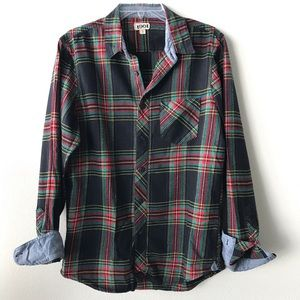 Nordstrom brushed flannel plaid button down shirt